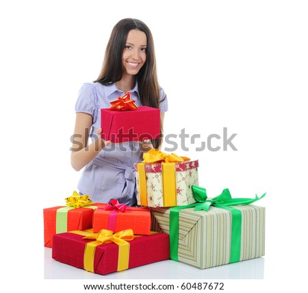 woman with gifts. Isolated on white background - stock photo