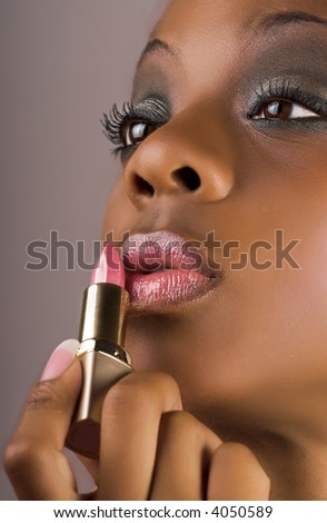 woman with glamour lips - stock photo