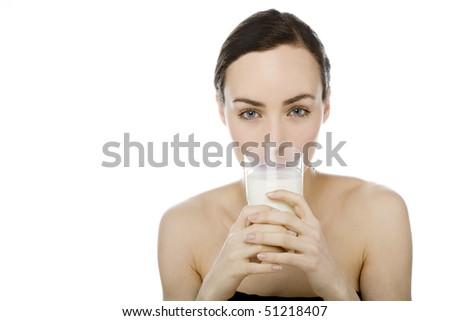 woman with glass milk on white background - stock photo