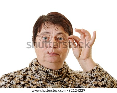 Woman with glasses and wart on the lip. - stock photo