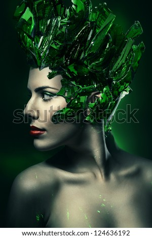 woman with green glass hat - stock photo