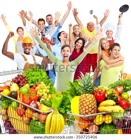 Woman with grocery bag of vegetables isolated white background. - stock photo