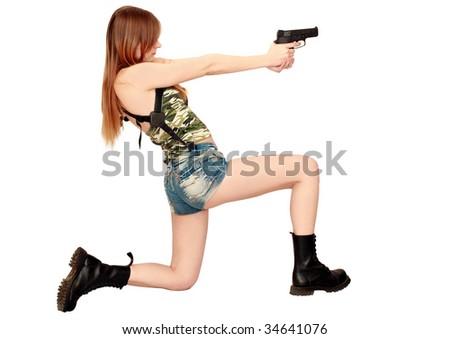 woman with gun - stock photo
