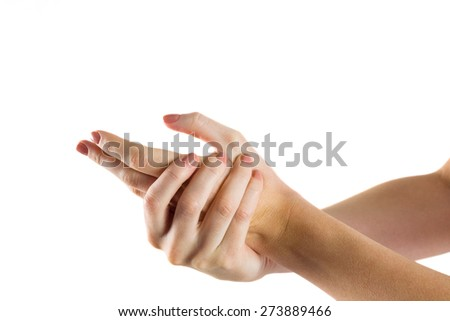 Woman with hand injury on white background - stock photo