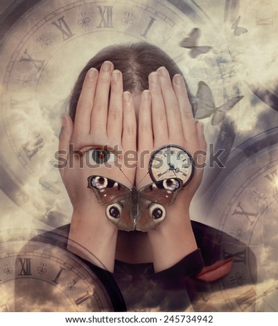 Woman with hands on face and symbols: butterfly, clock. Surreal image - stock photo