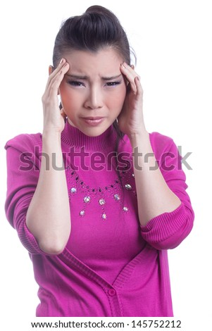 Woman with headache, isolated on white