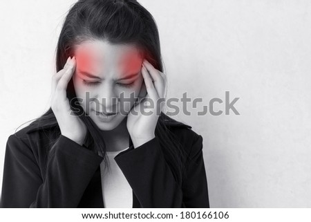 woman with headache, migraine, stress, insomnia, hangover  with red danger alert accent - stock photo