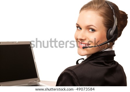 woman with headphone and computer isolated on white background - stock photo