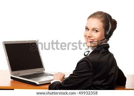 woman with headphone and computer isolated on white background