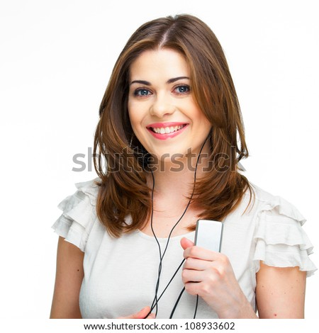 Woman with headphones listening  music - stock photo