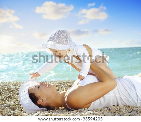 woman with her girl - stock photo