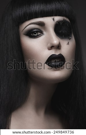 Woman with hole in eye - stock photo