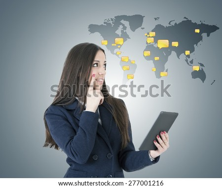 woman with international chat - stock photo