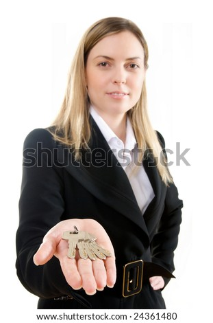 Woman with keys - stock photo