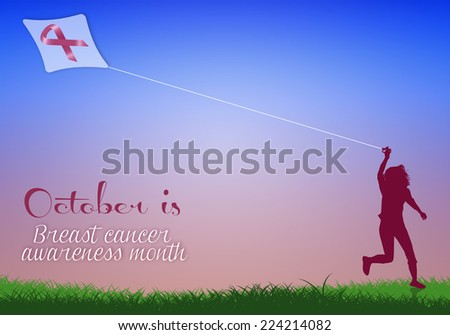 Woman with kite for breast cancer - stock photo