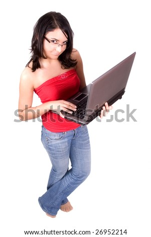 woman with laptop in white background - stock photo