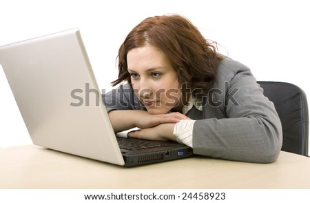 Woman with laptop on a white background