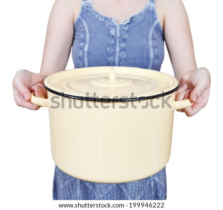 woman with large closed saucepan isolated on white background - stock photo