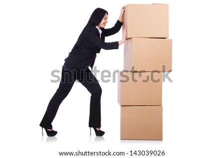 Woman with lots of boxes on white - stock photo