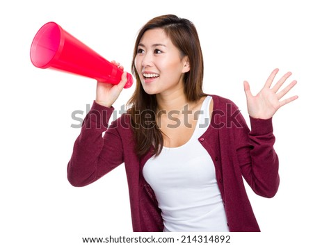 Woman with loudspeaker - stock photo