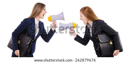 Woman with loudspeaker isolated on the white - stock photo