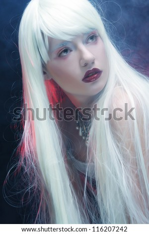 woman with magnificent white  hair