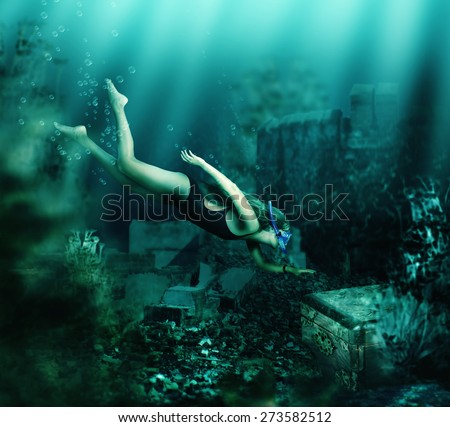 Woman with mask and snorkel diving swimming underwater among the ancient ruins to treasure chest. Focus on woman - stock photo