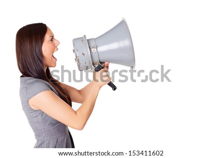 Woman with Megaphone - stock photo