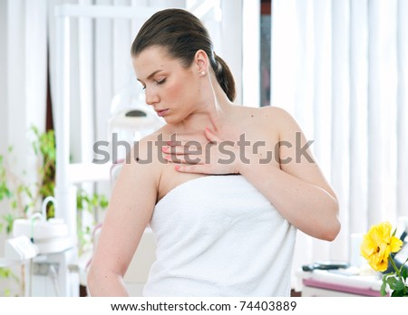 woman with melanoma in hospital room - stock photo