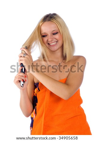 woman with messy hair - stock photo