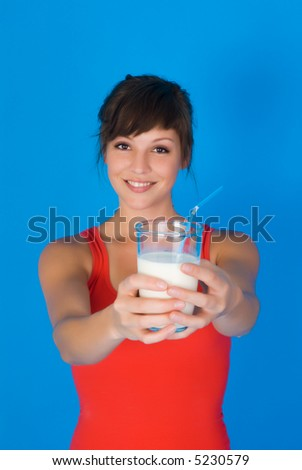 woman with milk - stock photo