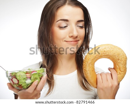 woman with milk and round loaf