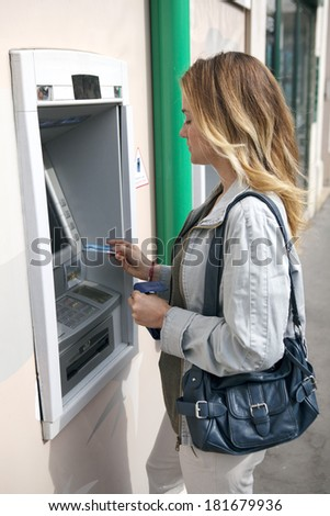 Woman With Money - stock photo