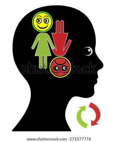 Woman with Mood Swings. Alternation of the emotional state between euphoria and depression as part of bipolar disorder or menopause - stock photo