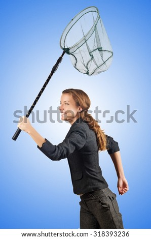 Woman with net isolated on white - stock photo