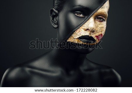 woman with newspaper and zip make-up