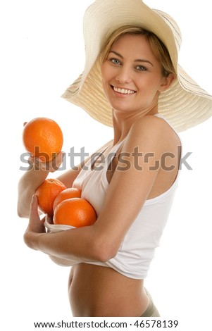 Woman with oranges - stock photo