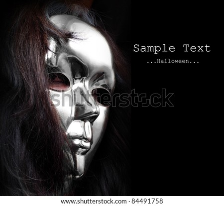 Woman with paper mask - unauthorized homemade product. - stock photo