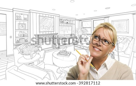 Woman With Pencil Over Custom Living Room Design Drawing. - stock photo