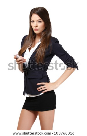 woman with phone in studio - stock photo