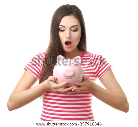 Woman with pig money box and banknotes isolated on white - stock photo