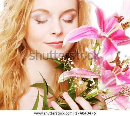 woman with pink flowers