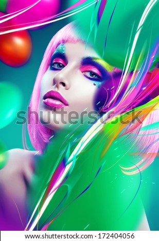 woman with pink hair and colourful lines - stock photo