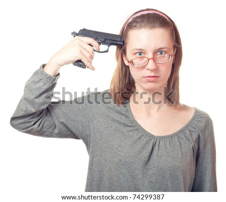 Woman with pistol isolated on white. - stock photo