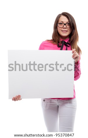 Woman with poster. Isolated over white.