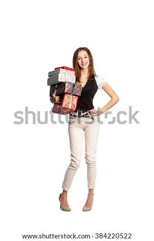 Woman with presents in her hands. Isolated on white background. Suitable for presentations, events, postcards. Illustrations store sales, discounts, promotions.
