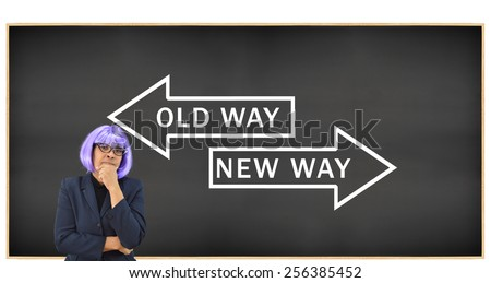 Woman with Purple hair Blackboard with Old Way New Way Arrows isolated on white background - stock photo