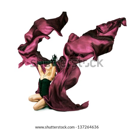 Woman with Purple Silk on White Background