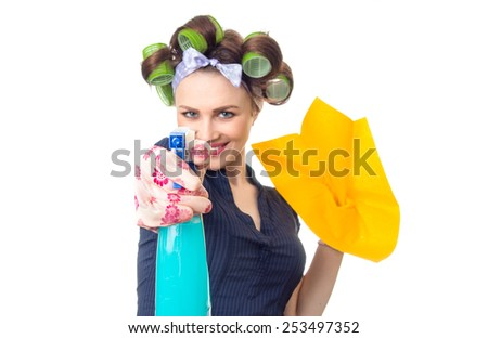 Woman with rag or wipe and cleaning spray for window. Close up of  housewife, isolated on white
