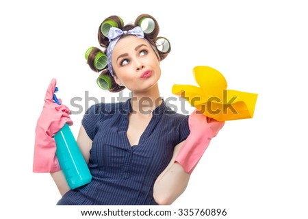 Woman with rag or wipe and cleaning spray for window. Close up of  housewife, isolated on white - stock photo
